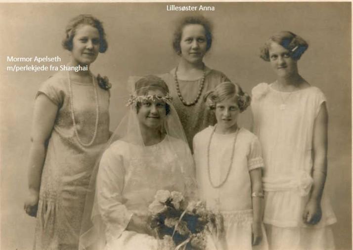Bildet er tatt i 1926 da mormors søster Lilly giftet seg. Her er mormor med alle søstrene sine.