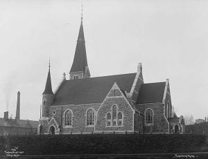 Fagerborg kirke hvor Aslaug og Ole Christian ble viet. Kilde: Norsk Folkemuseum. Fotograf: Wilse, Anders Beer, Eier: Datering: 1903