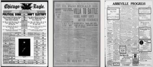 Gamle aviser som ligger Library og Congress