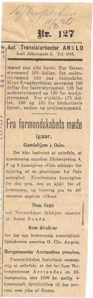 Opplyst at Ole Chr Aspen er blitt direktør Aftenp. 11.03.1920