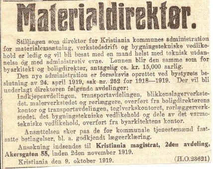 Stillingsannonsen som sto i Aftenposten 1919