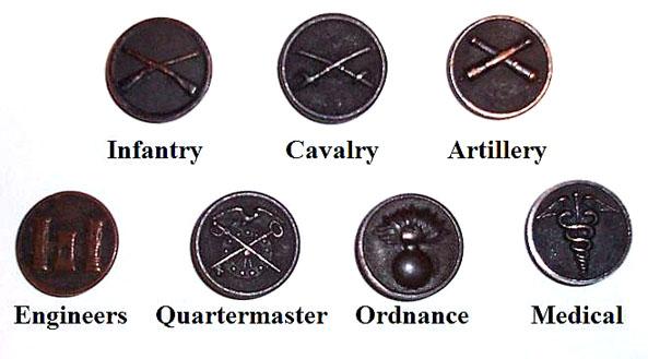 Forskjellige kragemerker fra US WW1s uniformer